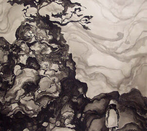 black white and gray painting of a tree on top of a hill with a little girl standing at the bottom of the hill