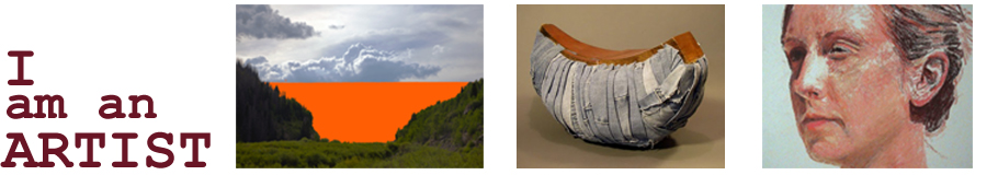 header with three images - one is a photograph of a landscape that has been altered to have a block of orange color across the horizon, the second is a sculpture in the shape of a crescent wrapped in scraps of denim and the third is a painted portrait of a woman