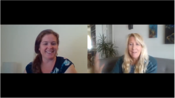 video still of lauren and lisa during their podcast