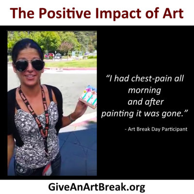 An Art Break Day Participant expresses gratitude after taking an art break.