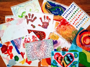 Here's a sample of postcards sent out for Give an Art Break.