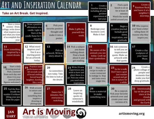 A free calendar to use every January to start your year off for a daily art break filled with inspiration