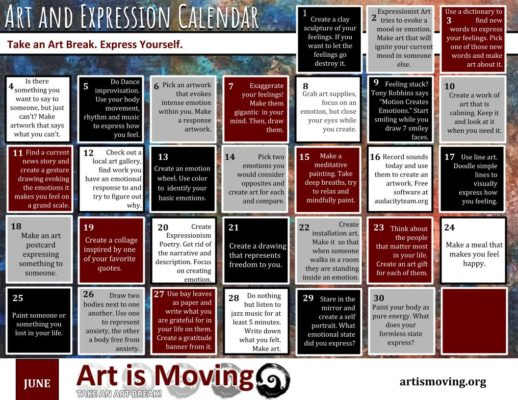 A free download of art making ideas about art and expression created by the nonprofit art organization Art is Moving