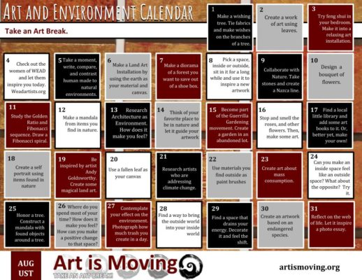 Free downloadable daily art break calendar created by Art is Moving.