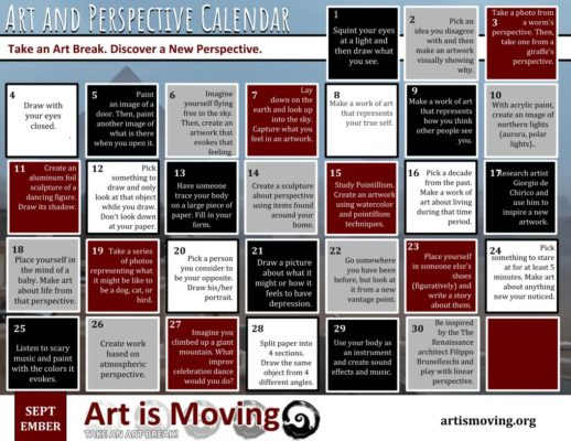 "A free downloadable calendar with a daily idea to encourage you to ""Take an Art Break!"""