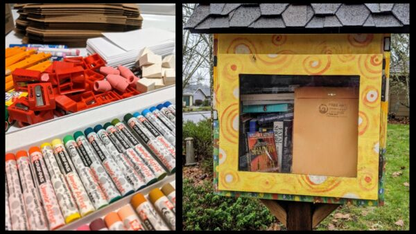 the left image is a pile of a variety of art supplies and the image on the right is a free art packet inside a little library
